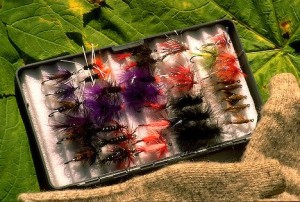 Alaska. Open tackle box with coho flies.